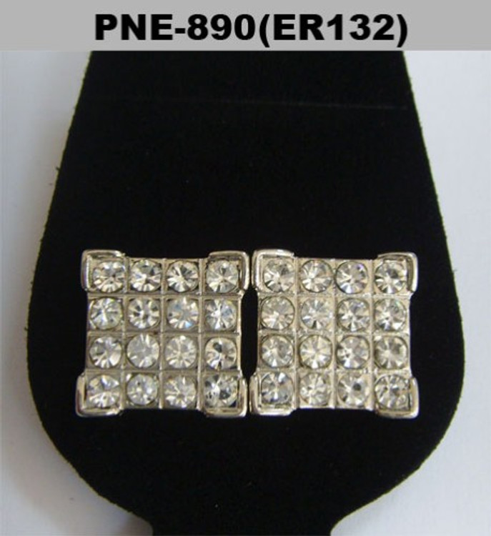Four Corner Big Stone Rhodium Silver Iced Out Earrings