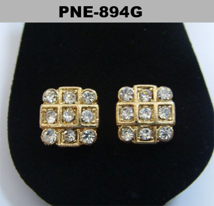 Iced Out Tic Tac Toe Gold Diamond Cz Bling Earrings