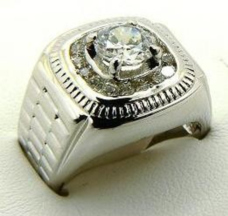 Iced Out Floating Centerstone Rhodium Silver Ring