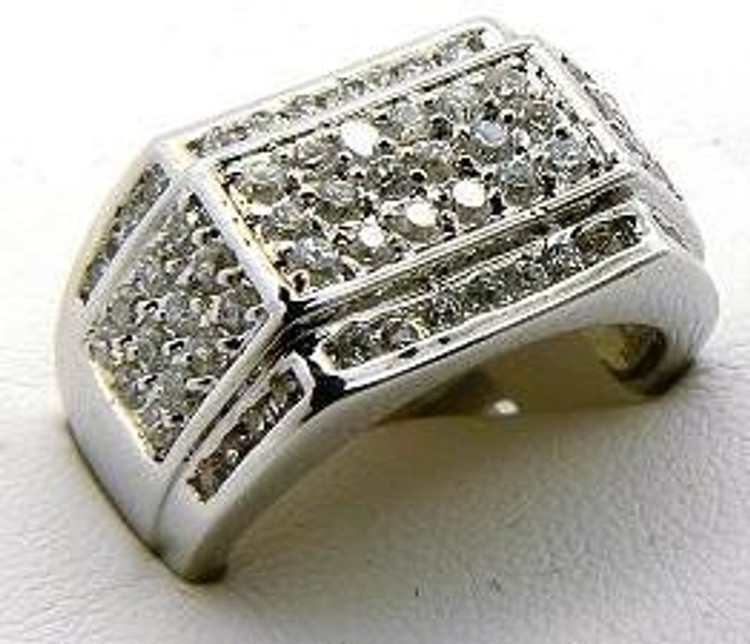 Hip Hop Two Way Diamond Cz Concave Ring Silver