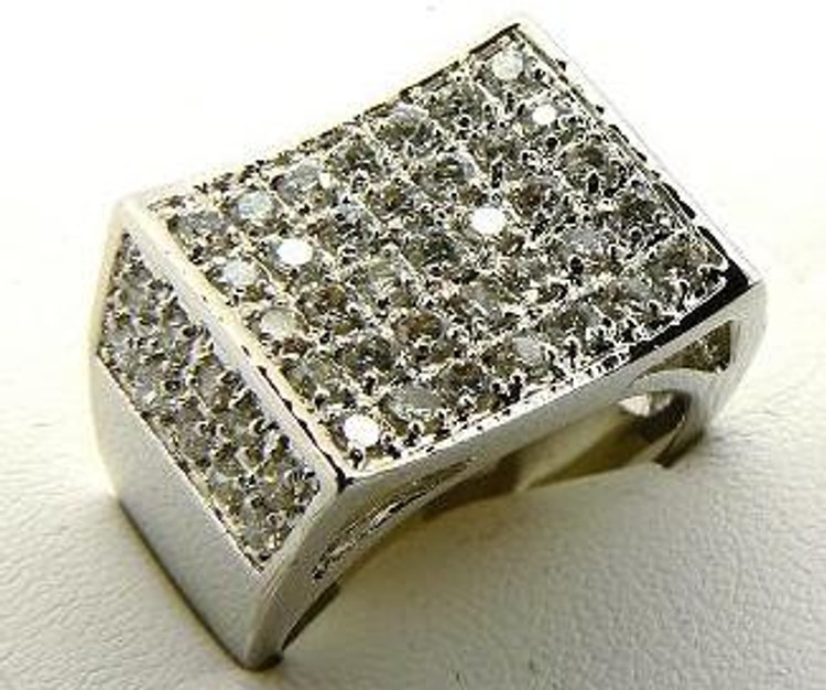 Men's Iced Out Classic Concave Ring Silver