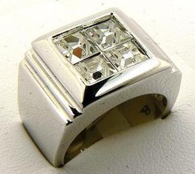 Iced Out Deep Set Princess Cut Stone Rhodium Silver Ring