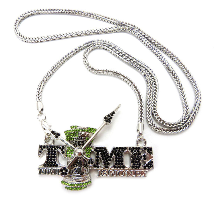 Time is Money Hip Hop Bling Chain Pendant Rhodium Silver