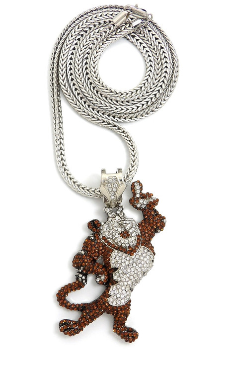 Rhodium Silver Hip Hop Tony The Tiger Simulated Diamond Pendant