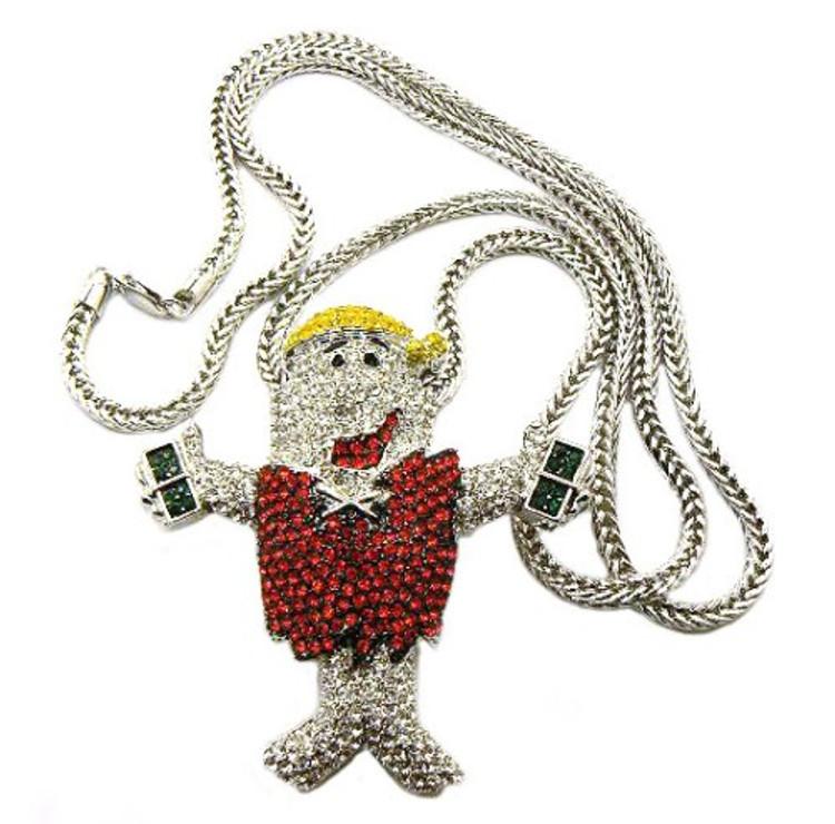 Hip Hop Diamond Cz Barney Silver Bling Pendant