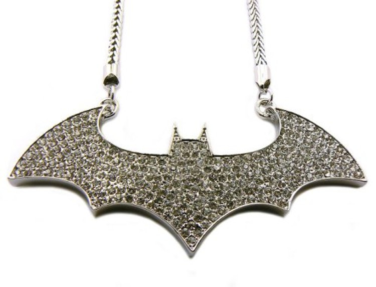Silver Iced Out Batman Diamond Cz Bling Hip Hop Pendant