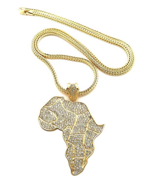 Mens Mother Africa Continent Cz Hip Hop Bling Pendant Gold