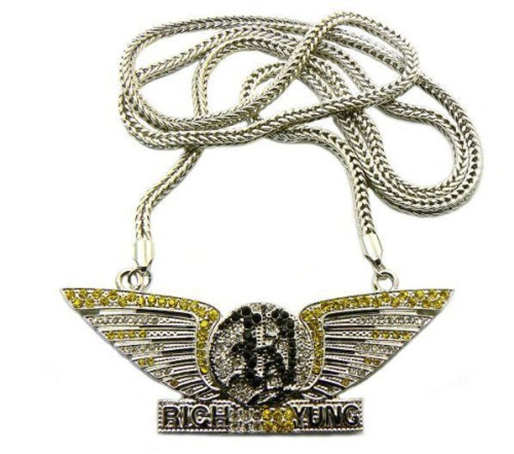 Rhodium Silver Rich Yung Diamond Cz Hip Hop Bling Pendant