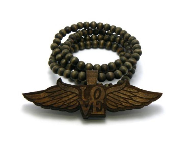 Flying Love Dark Wooden Pendant w/ Beaded Chain