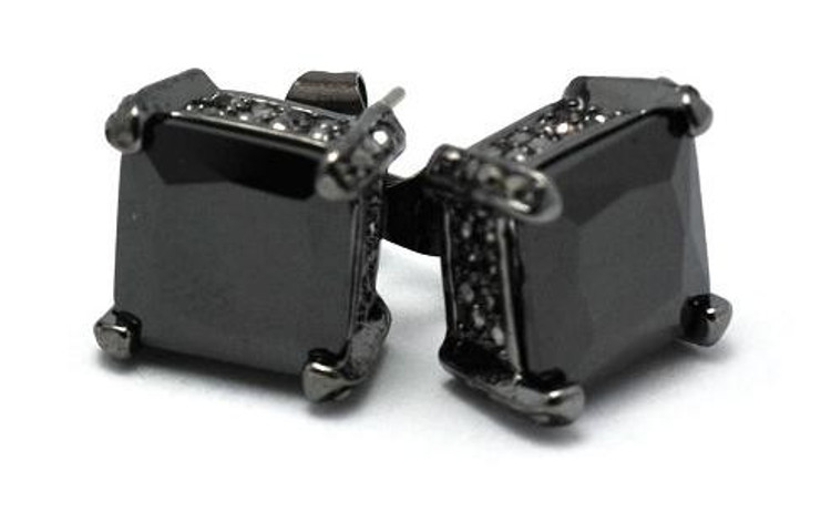 10mm Black on Black Princess Cut Iced Out Diamond Cz Earrings
