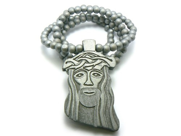 "Wood JESUS Piece Hip Hop Pendant 32"" Beaded Chain Silver"