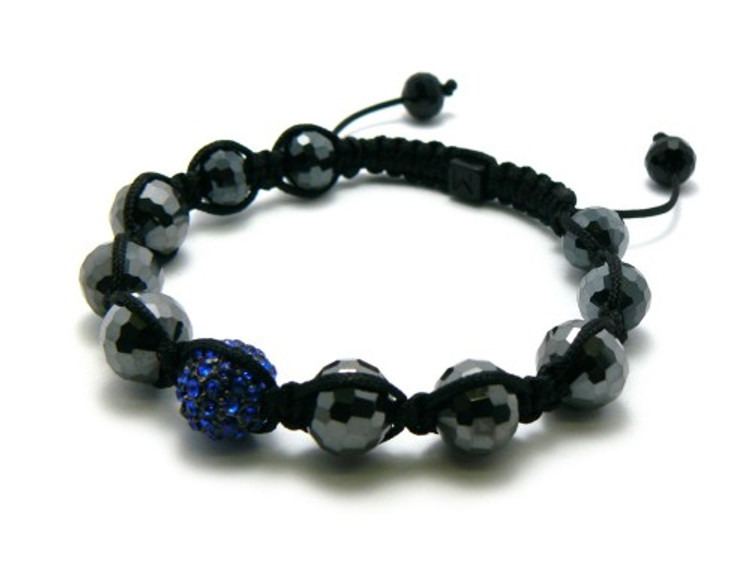Shiny Disco Ball Blue Simulated Diamond Shamballa Bracelet