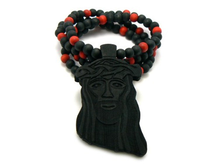 Wooden JESUS Piece Hip Hop Pendant Colored Beaded Chain Black