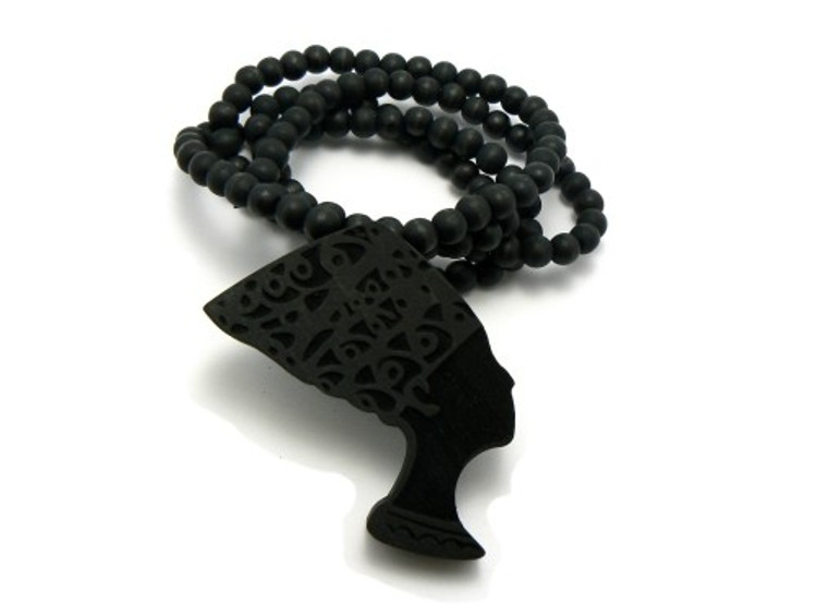 Queen of Egypt Nefertiti Wooden Beaded Chain Necklace Black