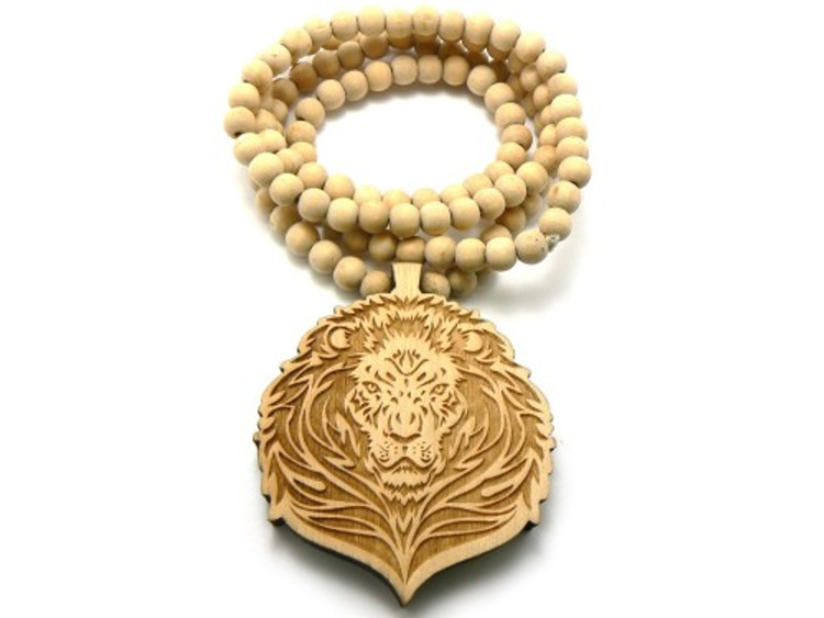 Lion Head Wooden Beaded Chain Pendant Natural