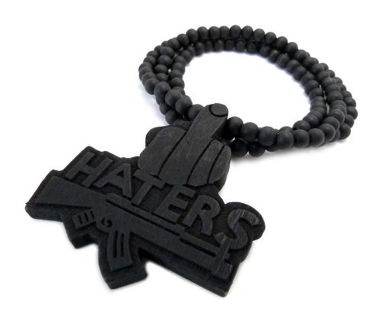 Haters Middle Finger Black Wooden Hip Hop Pendant