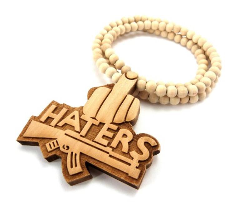 Haters Middle Finger Natural Wooden Hip Hop Pendant
