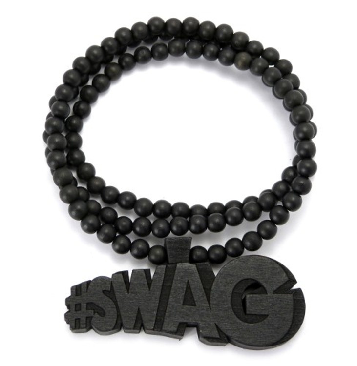 "Wooden Swag Hip Hop Pendant 36"" Beaded Chain Black"