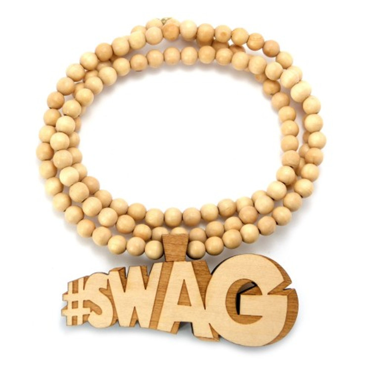 "Wooden Swag Hip Hop Pendant 36"" Beaded Chain Natural"