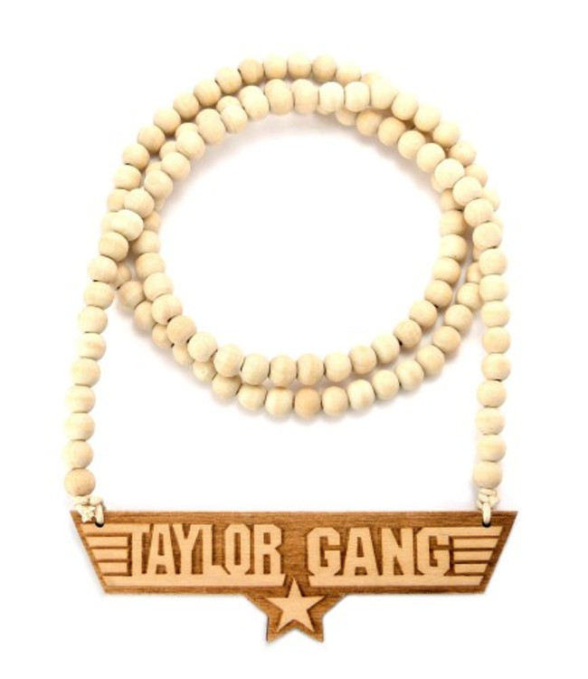 Taylor Gang Wooden Medallion Hip Hop Pendant Natural