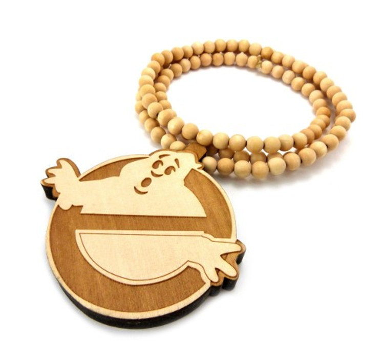 Wooden Ghostbusters Hip Hop Wood Pendant Natural