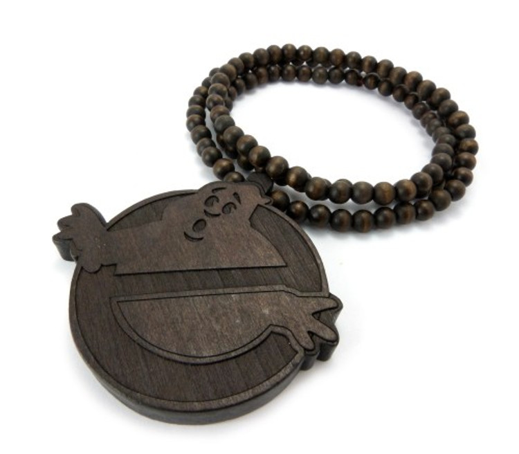 Wooden Ghostbusters Inspired Hip Hop Wood Pendant Brown