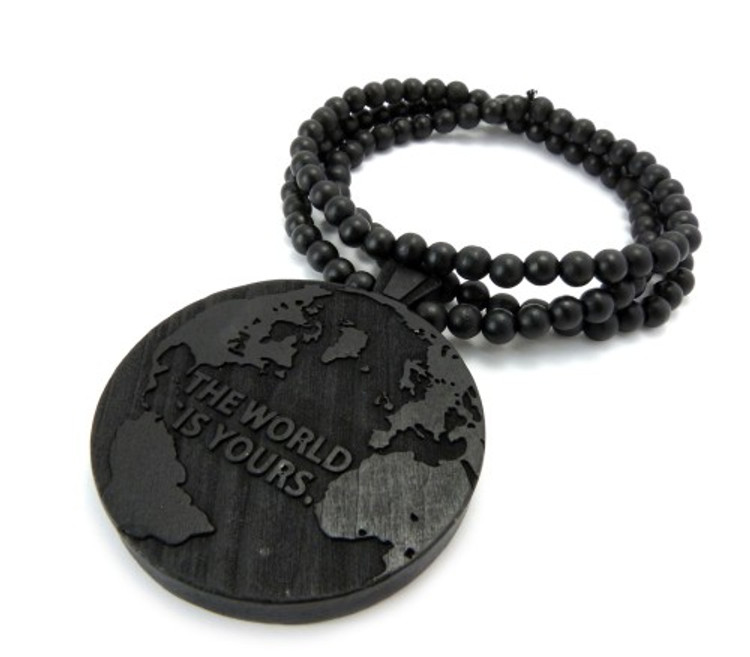 The World Is Yours Scarface Hip Hop Black Wood Pendant