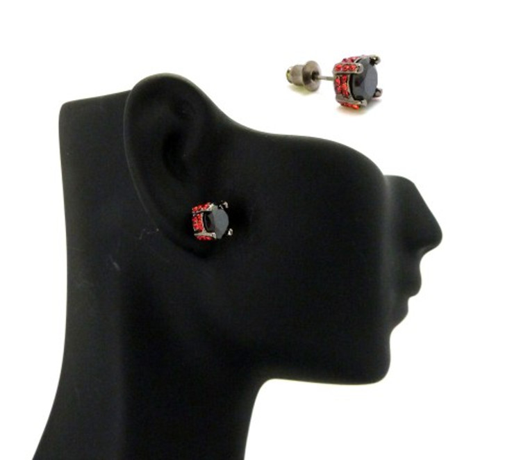 7mm Black & Red Stone Black Hematite Iced Out Earrings