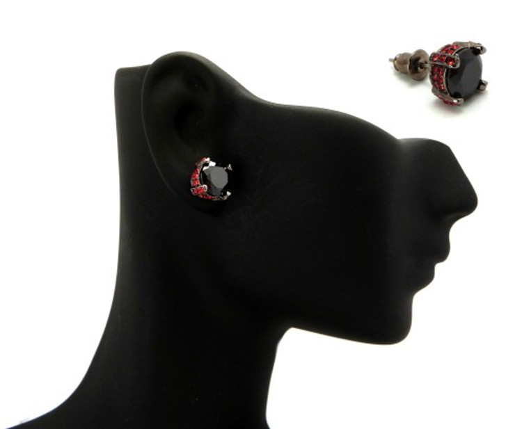 8mm Black & Red Cz Stone Black Hematite Iced Out Earrings