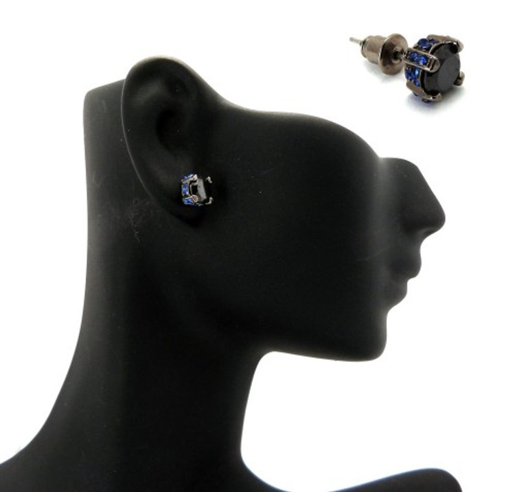 6mm Black & Blue Stone Black Hematite Iced Out Earrings