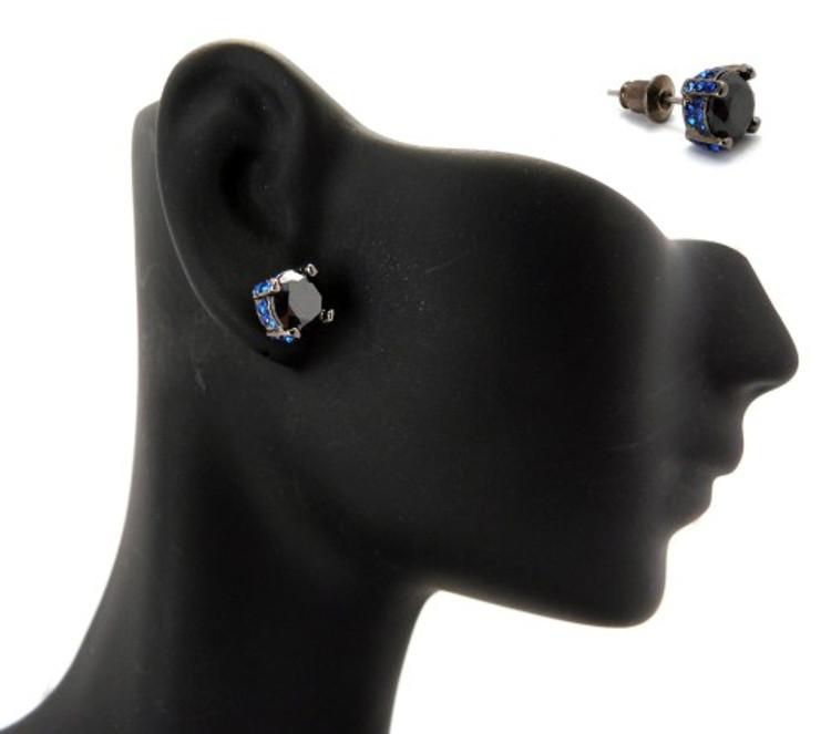 7mm Black & Blue Stone Black Hematite Iced Out Earrings