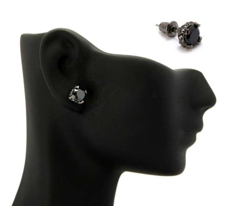 6mm Black on Black Stone Black Hematite Hip Hop Earrings