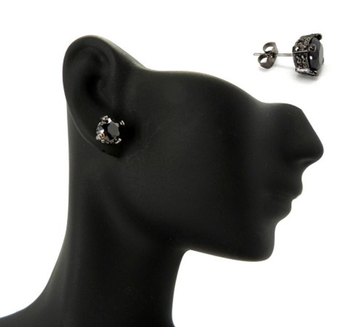 7mm Black on Black Stone Black Hematite Hip Hop Earrings