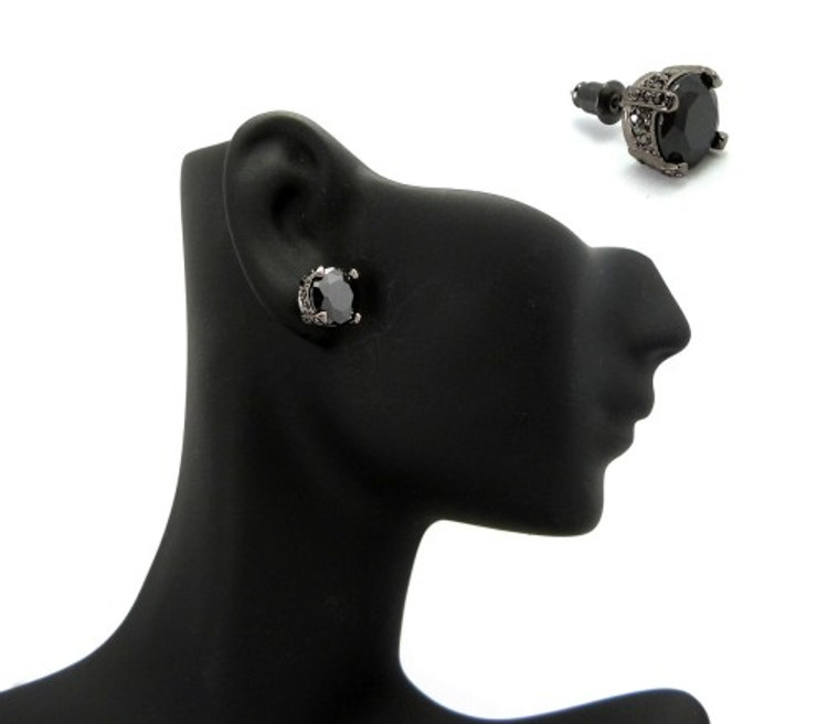 9mm Black on Black Stone Black Hematite Hip Hop Earrings