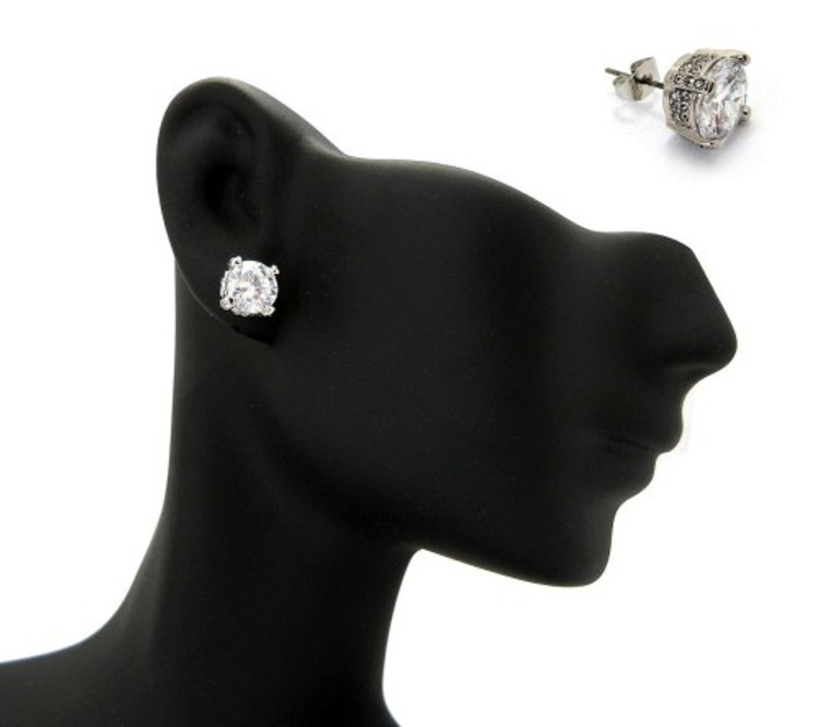 7mm Ice on Ice Round Cut Hip Hop Diamond Cz Earrings