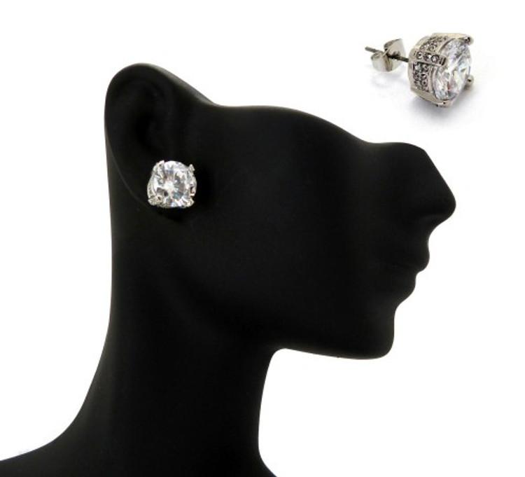 10mm Ice on Ice Round Cut Hip Hop Diamond Cz Earrings