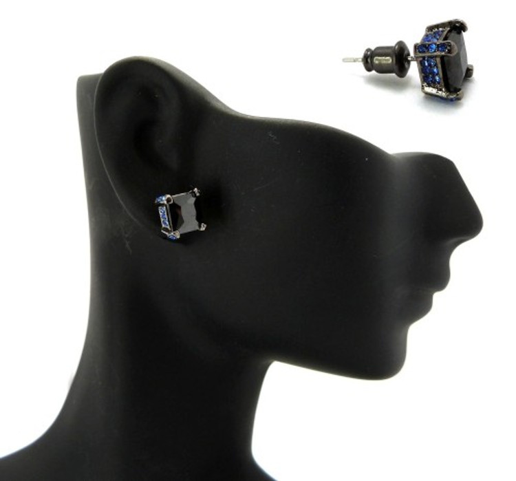 7mm Black & Blue Princess Cut Stone Hip Hop Earrings