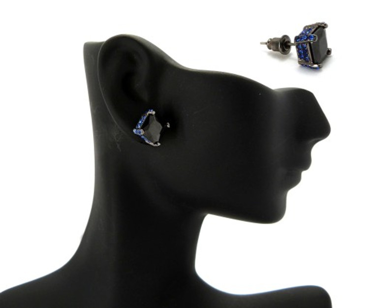 8mm Black & Blue Princess Cut Stone Hip Hop Earrings