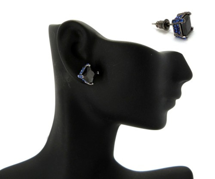 9mm Black & Blue Princess Cut Stone Hip Hop Earrings