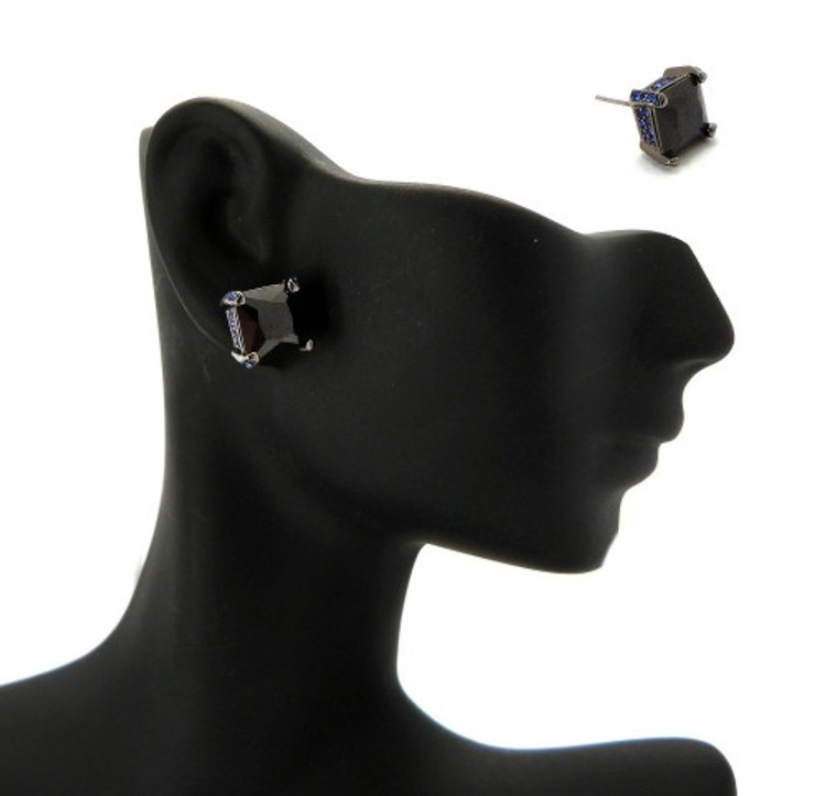 10mm Black & Blue Princess Cut Stone Hip Hop Earrings