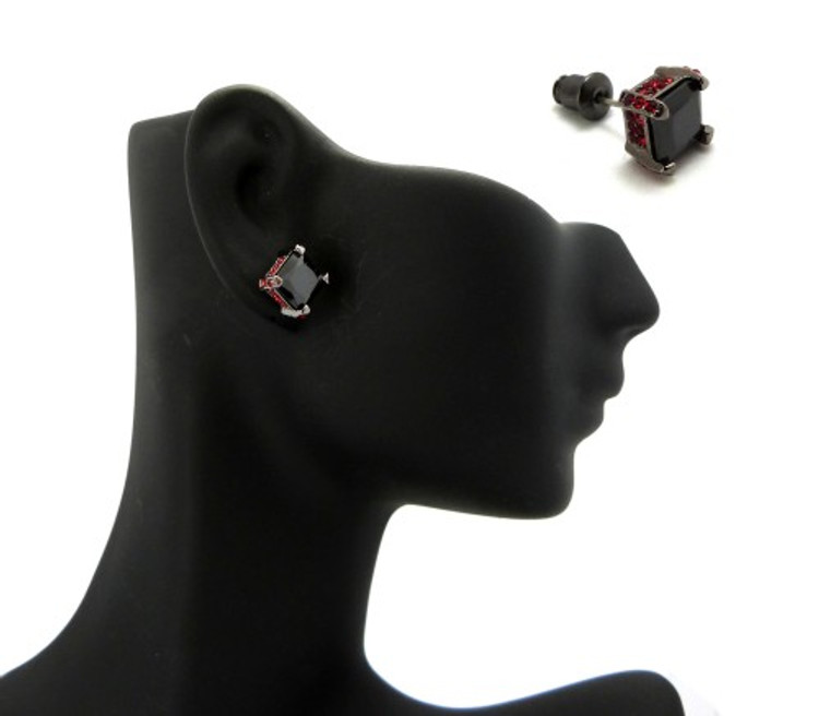 7mm Black & Red Princess Cut Stone Hip Hop Earrings