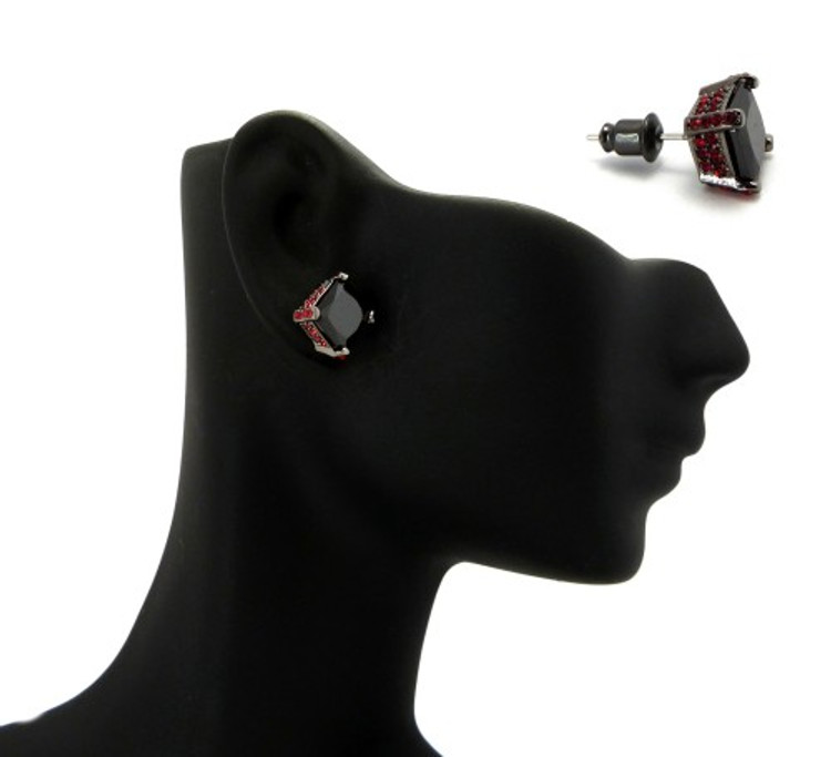 8mm Black & Red Princess Cut Stone Hip Hop Earrings