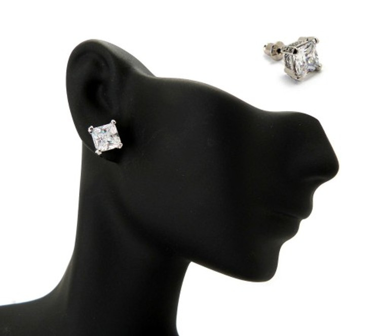 6mm Ice on Ice Princess Cut Hip Hop Diamond Cz Earrings