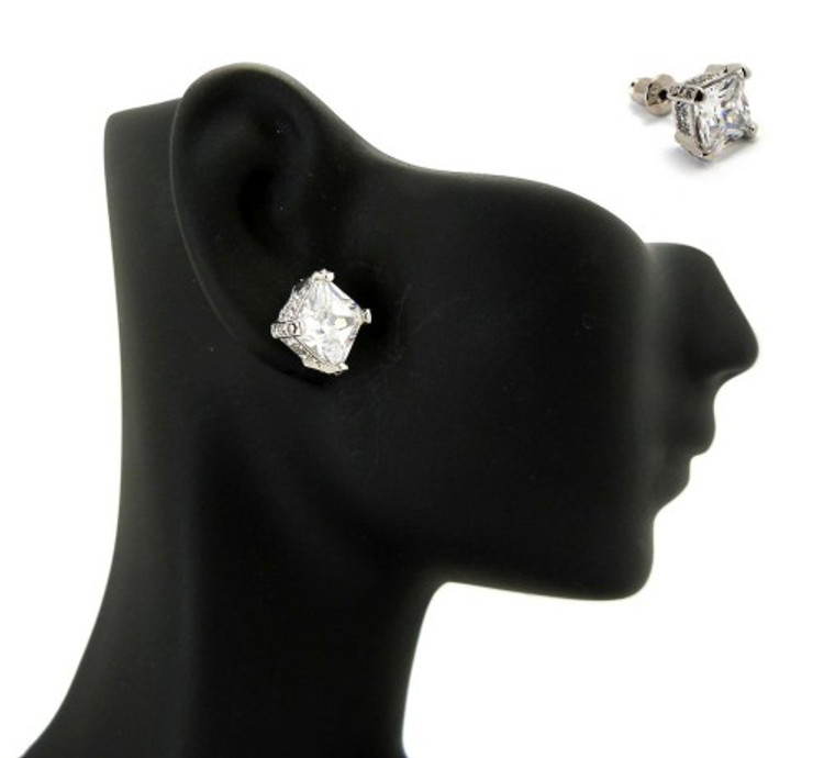8mm Ice on Ice Princess Cut Hip Hop Diamond Cz Earrings