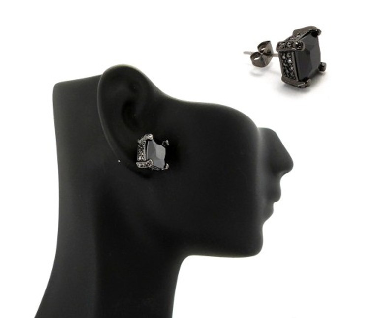 9mm Black on Black Princess Cut Cz Stone Hip Hop Earrings
