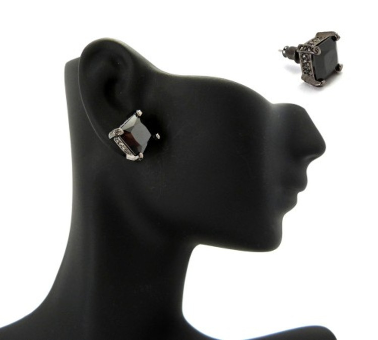 10mm Black on Black Princess Cut Stone Hip Hop Earrings