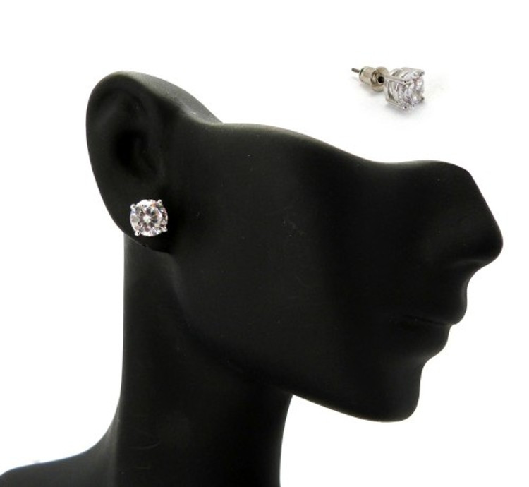 Rhodium Silver 6mm Cubic Zirconia Hands Set Iced Out Earrings