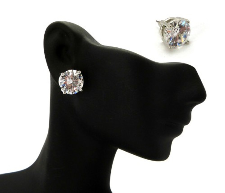 Rhodium Silver 12mm Diamond Cz Hands Set Iced Out Earrings