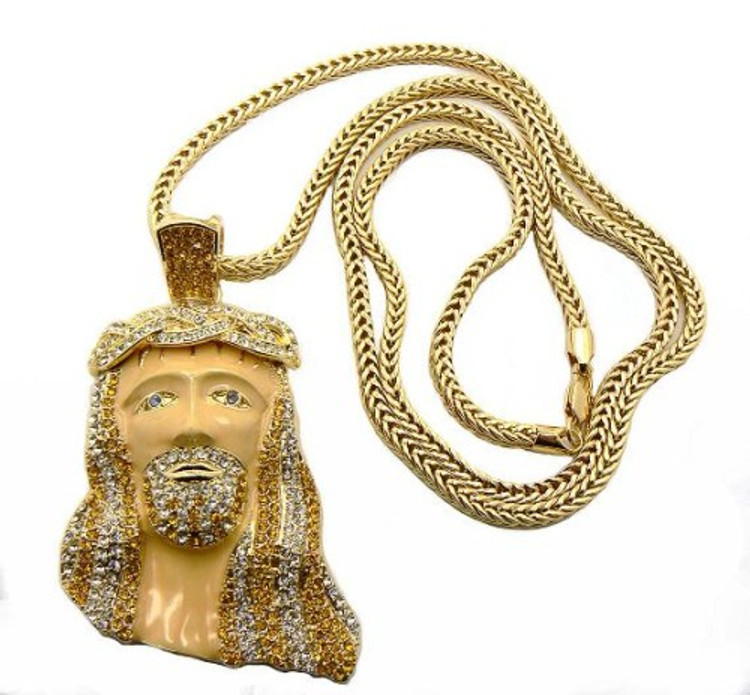 14k Gold GP Kanye West Inspired JESUS Piece Iced Out Bling Pendant
