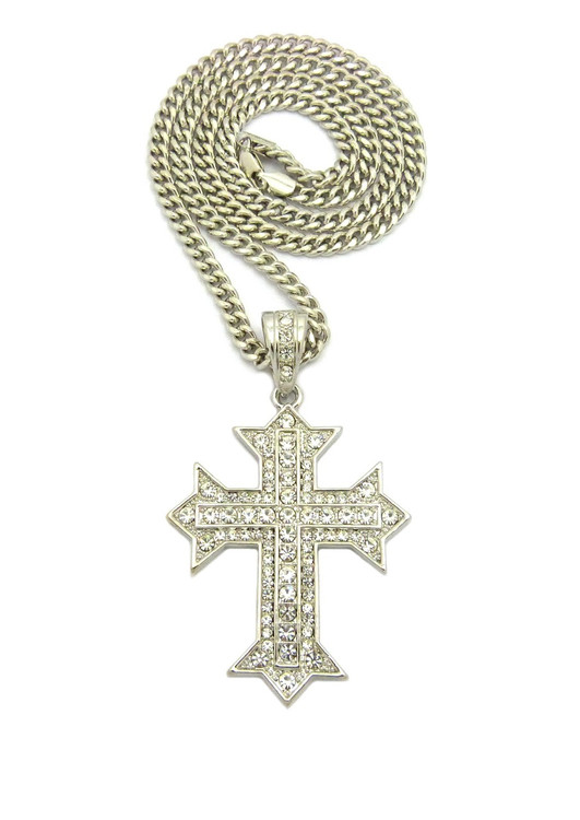 Mens Iced Out Silver Arrow Cross Pendant w/ Chain Necklace